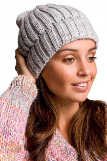 Teplá žebrovaná pletená dámská čepice, MOE
