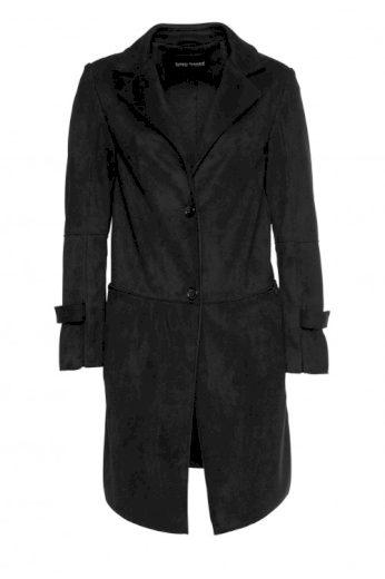 Černý kabát z imitace velurové kůže, Bruno Banani