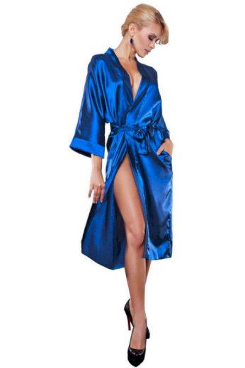 Saténový dámský župan 115 modrý