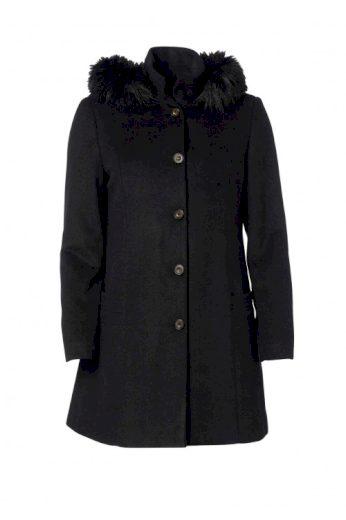 Černý vlněný zimní kabát cosy look, Swept by Danwear (vel.52 skladem)