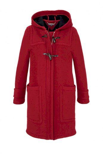 Duffle coat, značkový dámský červený duffle vlněný kabát, TOMMY HILFIGER (vel.M skladem)