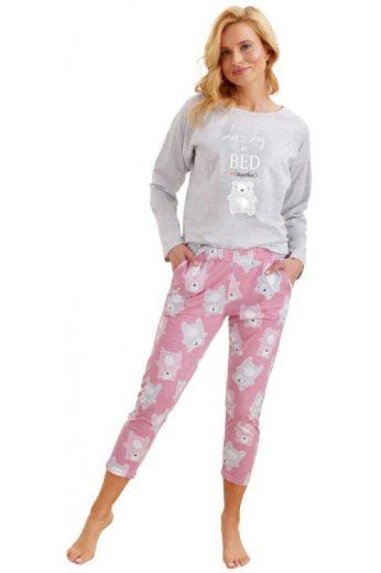 Dámské pyžamo Molly světle šedé s medvědem (vel.M skladem)