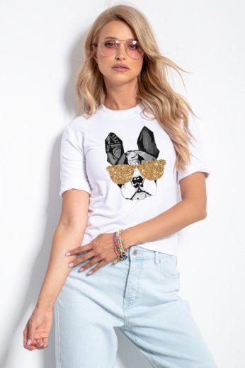 Dámské tričko Pes s brýlemi, FOBYA (vel.L/XL skladem)