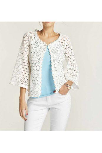 Bavlněný háčkovaný kabátek, háčkovaný svetr s perličkami HEINE (skladem)