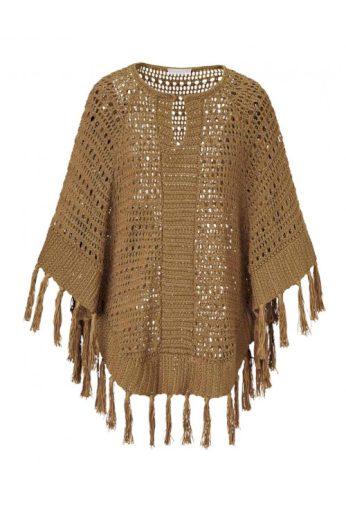 Stefanel, značkové pletené bavlněné pončo s třásněmi