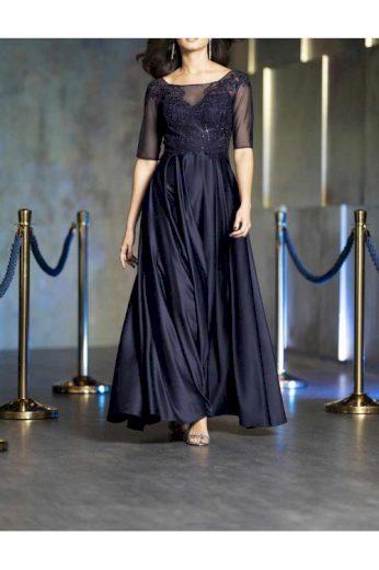 Tmavě modré večerní šaty se spodničkou, Patrizia Dini