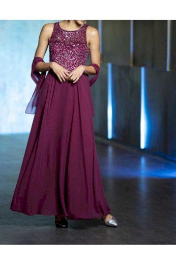 Vínové dlouhé společenské šaty se šálem, Patrizia Dini