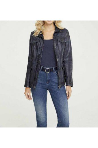 Tmavě modrá dámská kožená bunda, LINEA TESINI