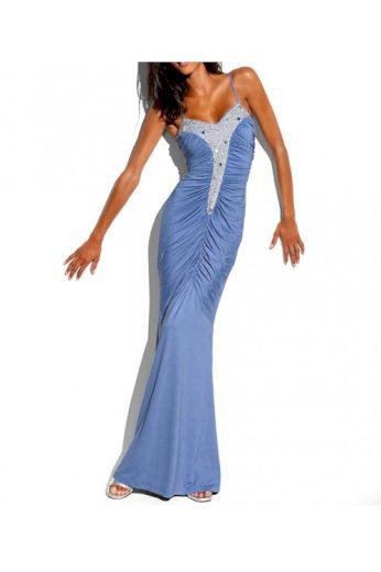 Návrhářské modré večerní šaty se stříbrnými pajetkami