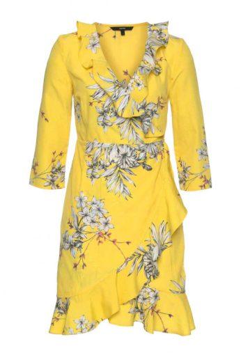 Žluté zavinovací šaty s volány, VERO MODA