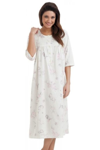 Dlouhá bavlněná noční košile s knoflíčky Lea ecru