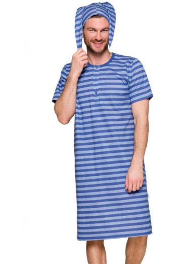 Pánská noční košile Filip IX modrá s pruhy