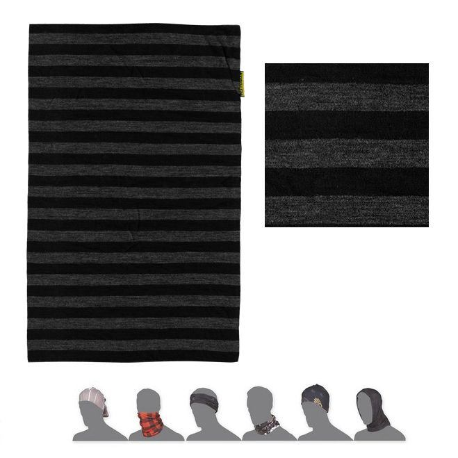 SENSOR TUBE MERINO WOOL šátek multifunkční černá/tm.šedá pruhy