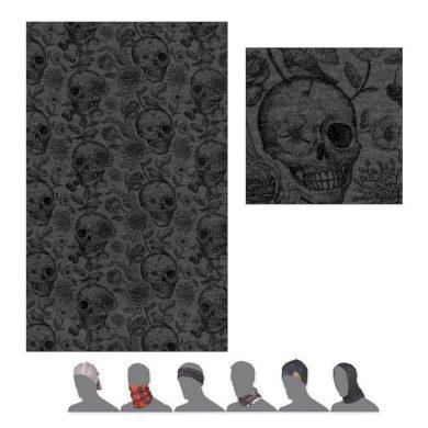 SENSOR TUBE MERINO IMPRESS šátek multifunkční černá/skulls