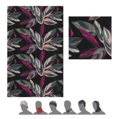 SENSOR TUBE LEAVES šátek multifunkční černá/multi