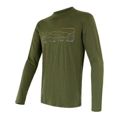 SENSOR MERINO ACTIVE PT TRACK pánské triko dl.rukáv safari green