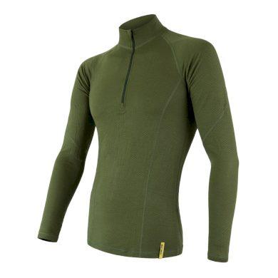 SENSOR MERINO DF pánské triko dl.rukáv zip safari green