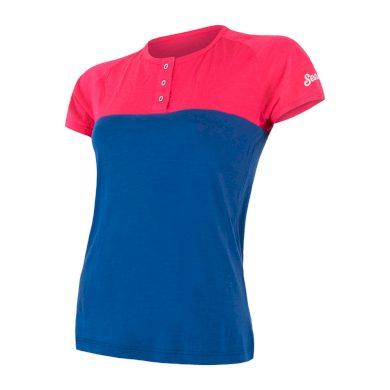 SENSOR MERINO AIR PT dámské triko kr.rukáv s knoflíky magenta/modrá