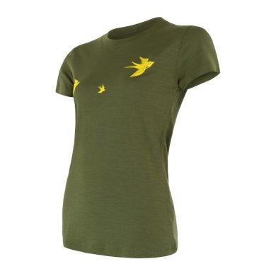 SENSOR MERINO ACTIVE PT SWALLOW dámské triko kr.rukáv safari green