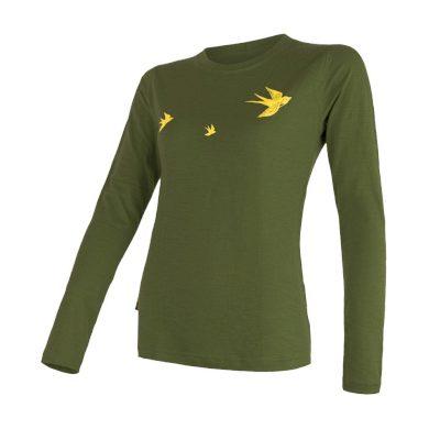 SENSOR MERINO ACTIVE PT SWALLOW dámské triko dl.rukáv safari green