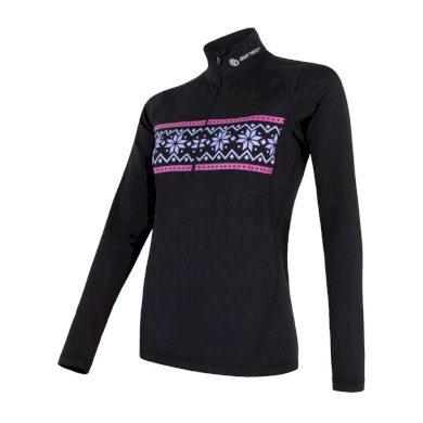 SENSOR COOLMAX THERMO dámské triko dl.rukáv zip černá/vzor