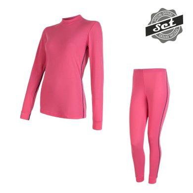 SENSOR ORIGINAL ACTIVE SET dámský triko dl.rukáv + spodky růžová