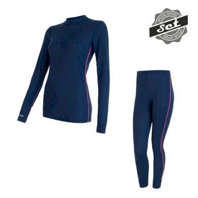 SENSOR ORIGINAL ACTIVE SET dámský triko dl.rukáv + spodky tm.modrá