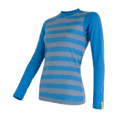 SENSOR MERINO ACTIVE dámské triko dl.rukáv modrá pruhy