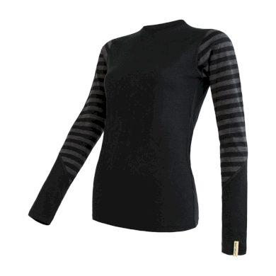 SENSOR MERINO ACTIVE dámské triko dl.rukáv černá/šedá pruhy