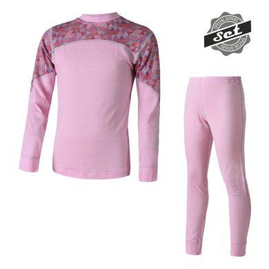 SENSOR MERINO IMPRESS SET dětský triko dl.rukáv + spodky růžová/pattern
