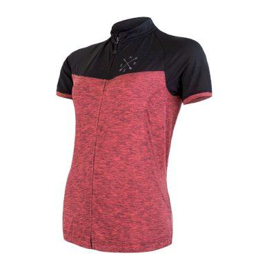 SENSOR CYKLO MOTION dámský dres kr.rukáv celozip růžová/černá