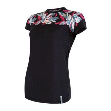 SENSOR COOLMAX IMPRESS dámské triko kr.rukáv černá/leaves