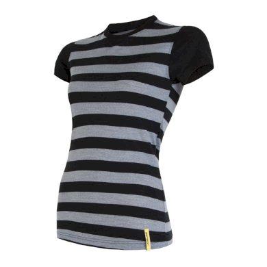 SENSOR MERINO ACTIVE dámské triko kr.rukáv černá pruhy