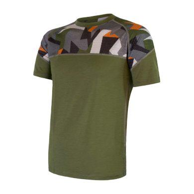 SENSOR MERINO IMPRESS pánské triko kr.rukáv safari/camo