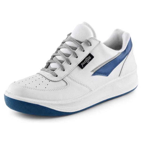 Celokožené sportovní a pracovní tenisky bílé UNISEX Prestige