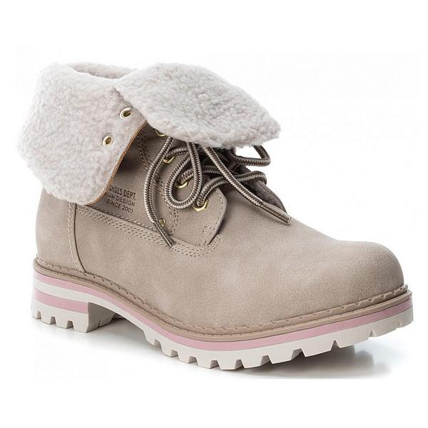Boty XTI kotníkové zimní béžové dámské Xti