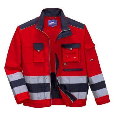 Výstražná reflexní pracovní bunda LILLE Hi-Vis, červená Portwest