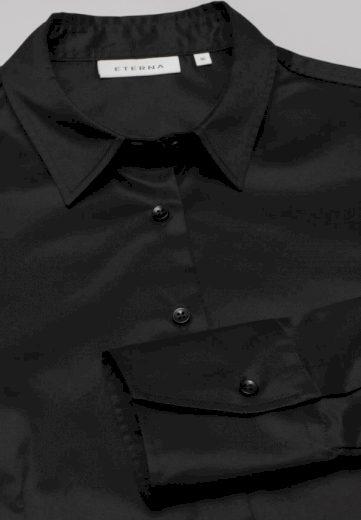 ETERNA Modern Classic dámská černá neprosvítající halenka dlouhý rukáv rypsový kepr 100% bavlna Easy Iron