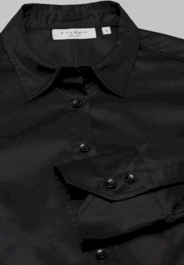 ETERNA Slim Fit dámská černá neprosvítající halenka dlouhý rukáv rypsový kepr 100% bavlna Easy Iron