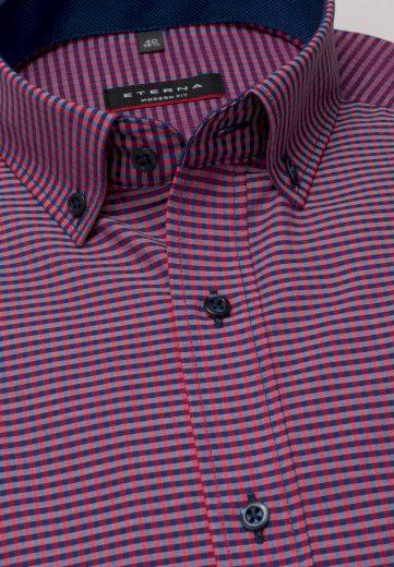 Moderní košile pro muže ETERNA Modern fit 100% bavlna non iron dlouhý rukáv náprsní kapsa červená barva