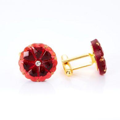 Zlaté manžetové knoflíčky YABLOGLASS - Rubín s krystalem