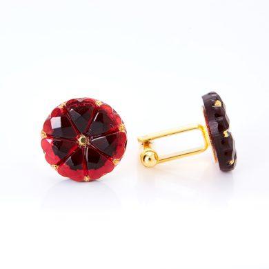 Zlaté manžetové knoflíčky YABLOGLASS - Rubín s kovovým štrasem