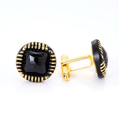 Zlaté manžetové knoflíky YABLOGLASS - zlatá černá Art Deco