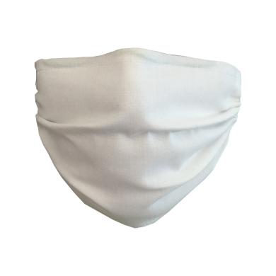 Bavlněná rouška s drátkem, kapsou 20x15cm na ochranné filtry a zavazováním - Bílá