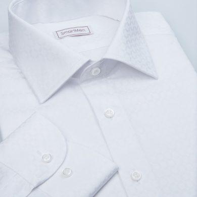SmartMen bílá košile pánská s decentním vzorem kára Slim fit