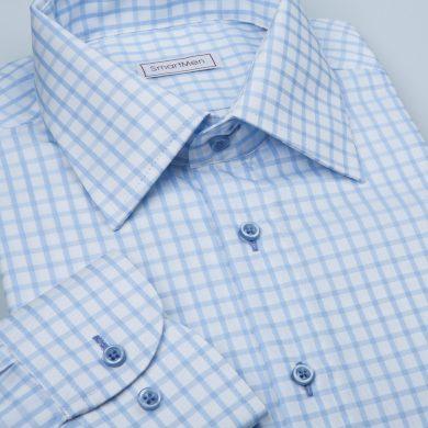 SmartMen Business Casual pánská košile modrá károvaná Slim fit