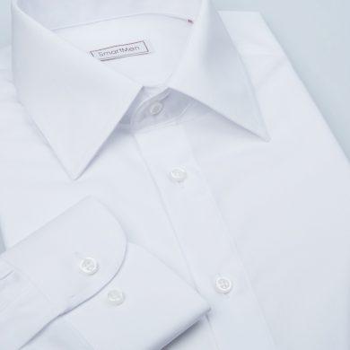 SmartMen čistě bílá košile pánská dlouhý rukáv Non Iron Slim fit