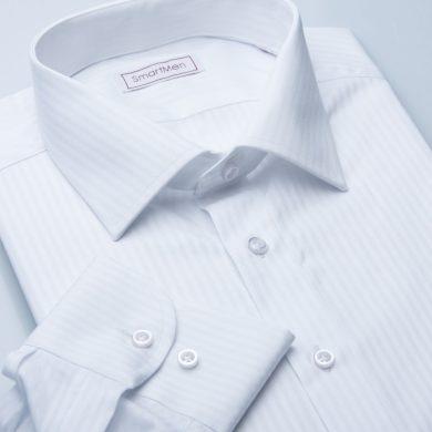 SmartMen pánská košile bílá Elegance proužek Slim fit