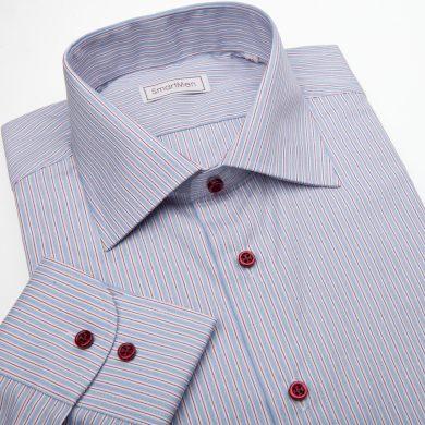 SmartMen pánská košile modrá s červenou linkou a červenými knoflíčky Slim fit