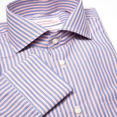 SmartMen business pánská košile modrý a růžový proužek Regular fit